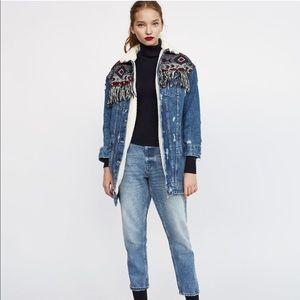 NWT Zara TRF Shearling Fringe Jacket